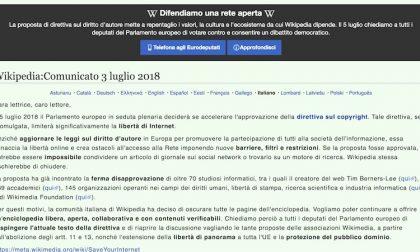 Wikipedia oscurato per protesta contro la direttiva sul copyright