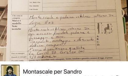Costretto in casa, una gara di solidarietà per liberare Sandro