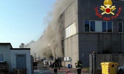 Scoppia incendio in un capannone, sul posto 11 automezzi dei Vigili del Fuoco FOTO