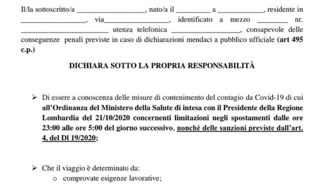 Autocertificazione Lombardia ottobre 2020