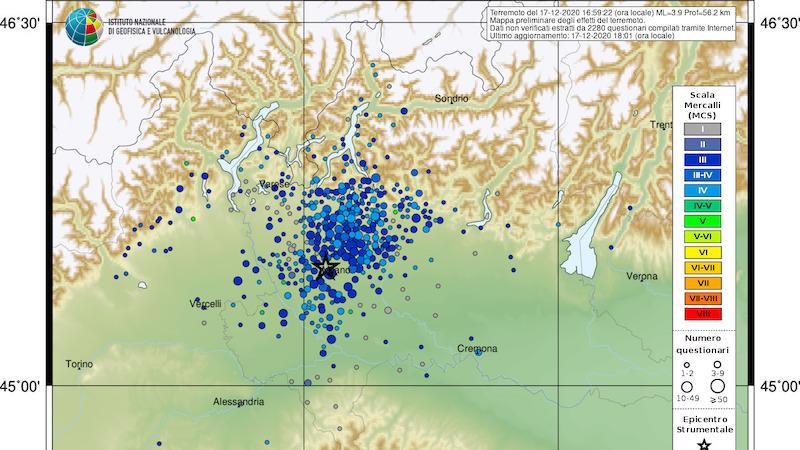 Terremoto a Milano percepito anche in Ticino