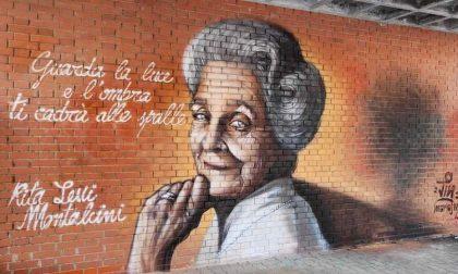 Un murale dedicato a Rita Levi Montalcini all'ingresso della scuola
