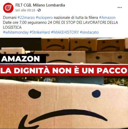 Sciopero nazionale dipendenti Amazon