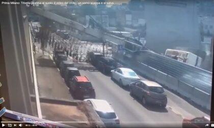 Trivella piomba al suolo: il video del crollo, un uomo scappa e si salva