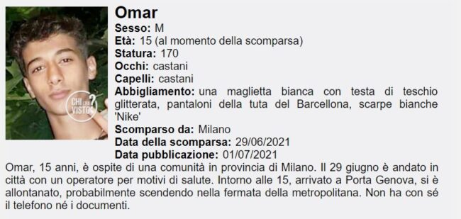 15enne scomparso a Milano