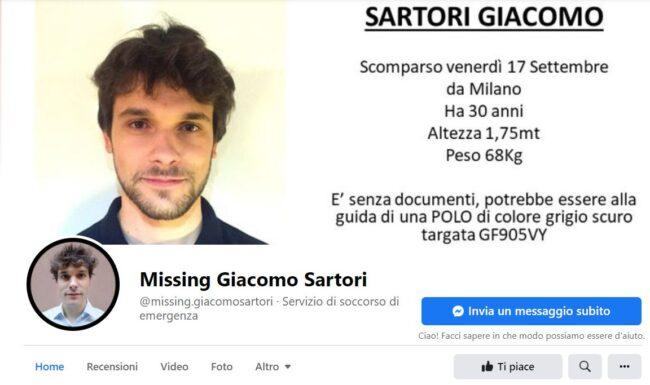 Giacomo Sartori scomparso Milano